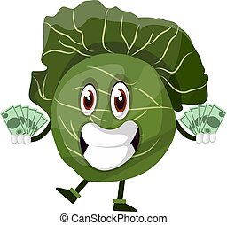 Cabbage holds a lot of money, illustration, vector on white background.