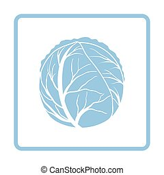 Cabbage icon. Blue frame design. Vector illustration.