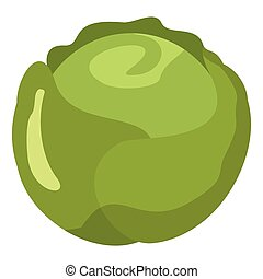 Cabbage icon in cartoon flat style isolated object vegetable organic eco bio product from the farm vector illustration