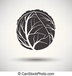 Cabbage icon on gray background, round shadow. Vector...