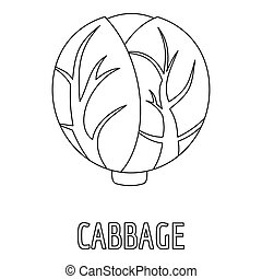 Cabbage icon, outline style.