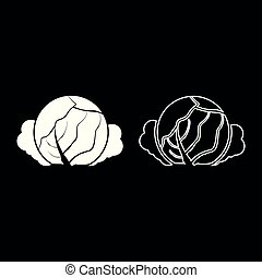 Cabbage icon set white color illustration flat style simple image