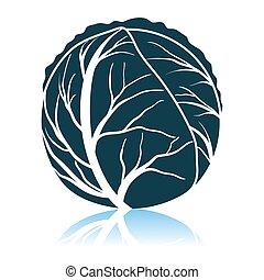 Cabbage Icon. Shadow Reflection Design. Vector Illustration.