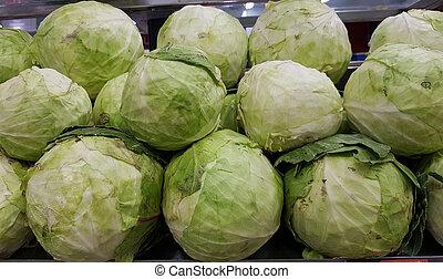 cabbage in vegetable super market for sale