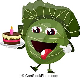 Cabbage is holding a birthday cake, illustration, vector on white background.