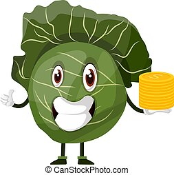 Cabbage is holding a pile of nickels, illustration, vector on white background.