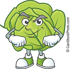 Cabbage mascot cartoon character style with Smirking face