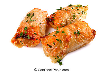 Cabbage rolls filled with ground meat