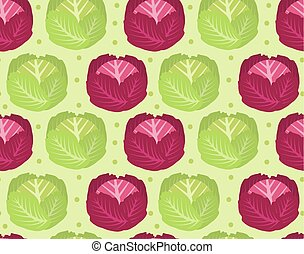 Cabbage seamless pattern. Red cabbage endless background, texture. Vegetable background. Vector illustration.