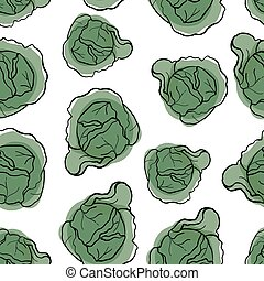 Cabbage seamless pattern. Red cabbage endless background, texture.