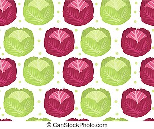 Cabbage seamless pattern. Red endless background, texture. Vegetable . Vector illustration