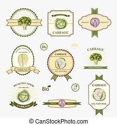 Cabbage, set of label design