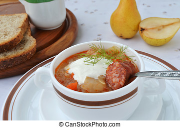 Cabbage soup with sausage.
