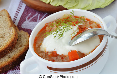 Cabbage soup with sour cream.