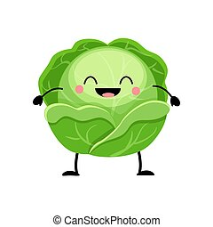 Cabbage vector illustration in flat style isolated on white ba