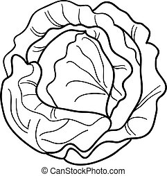 cabbage vegetable cartoon for coloring book - Black and...