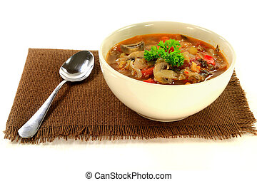 Cabbage, vegetables and mushrooms vegetarian soup -...
