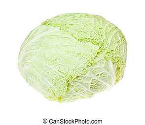 cabbagehead of fresh savoy cabbage isolated on white ...