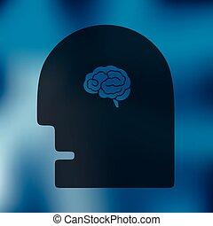 cabeça, ícone, ligado, fundo borrado