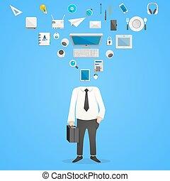 cabeça, ícones escritório, ilustração, desk., vetorial