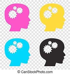 cabeça, ícones, pensando, sinal., cmyk, experiência., transparente, cyan