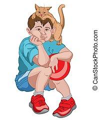 cabeça, aborrecido, menino, shorts, jogando esfera, enquanto, t-shirt, vermelho, gato, azul, sneakers, segurando, seu