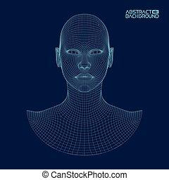 cabeça, ai, inteligência, concept., wireframe, robô,...