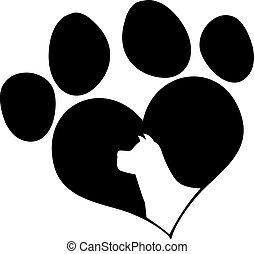 cabeça, amor, pata, cão, pretas, impressão