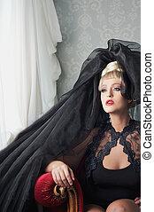 cabeça, assento mulher, moda, pretas, loura, vestido