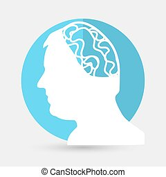 cabeça, branca, engrenagem, fundo, ícone
