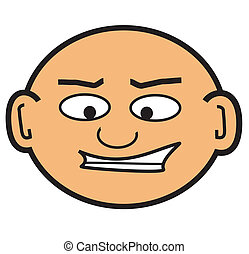 cabeça, calvo, caricatura