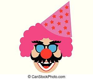 cabeça, chapéu, isolado, experiência., branca, clown's