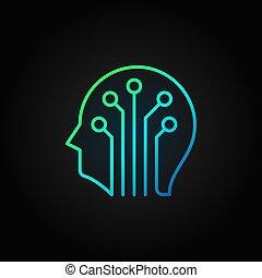cabeça, colorido, escuro, circuito, vetorial, tábua, fundo, linha, ícone