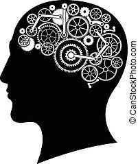 cabeça, com, engrenagem, cérebro
