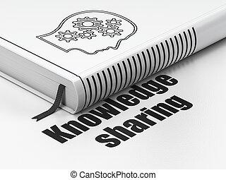 cabeça, compartilhando conhecimento, livro, fundo, engrenagens, educação, branca, concept:
