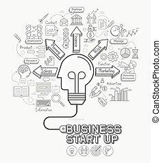 cabeça, conceito, illustration., ícones negócio, luz, set., cord., cima, início, forma, vetorial, doodles, bulbo