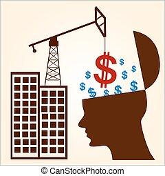 cabeça, conceito, pensando, símbolo dólar, -, ilustração, human