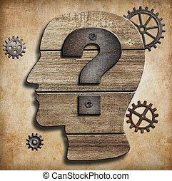 cabeça, conceito, silueta, marca pergunta, human