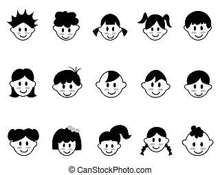 cabeça, crianças, ícones