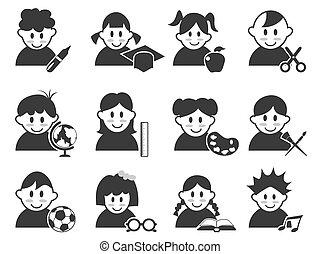 cabeça, crianças, jogo, educação, ícones