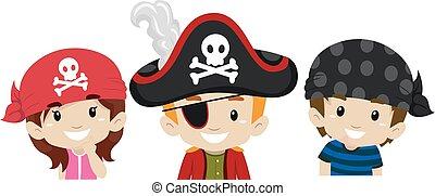 cabeça, crianças, pirata