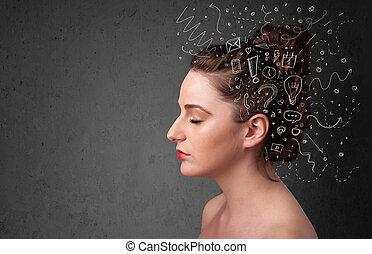 cabeça, dela, ícones, pensando, abstratos, menina jovem