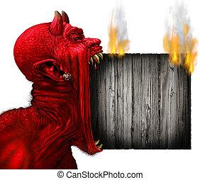 cabeça, diabo, sinal