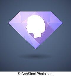 cabeça, diamante, femininas, ícone