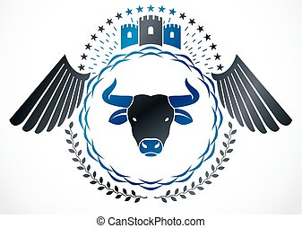 cabeça, emblema, medieval, winged, heraldic, isolado, ilustração, vetorial, touro, selvagem, usando, decorado, castle.