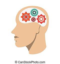 cabeça, engrenagens, human, ícone