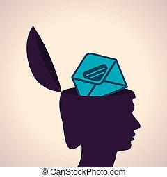 cabeça, envelope, símbolo, human