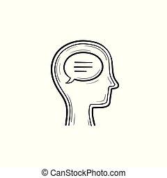 cabeça, esboço, doodle, humanos, mão, desenhado, icon., bolha, pensar