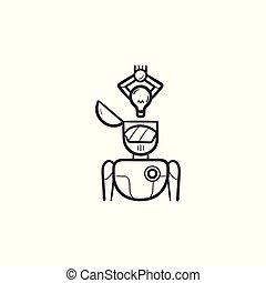 cabeça, esboço, doodle, idéia, mão, pôr, robotic, desenhado, icon., braço, bulbo