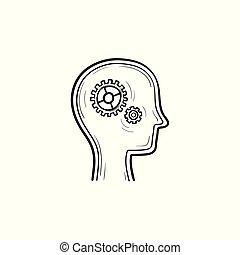 cabeça, esboço, doodle, mão, engrenagens, human, desenhado, icon.